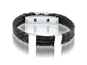 Braided Black Leather Mens Bracelet 10 MM 8 1/2 Inches with Watch Stainless Steel Lock