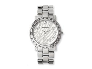 Ladies Simon Chang IP-pltd Crystalstal Bezel Zebra Pattern Dial Watch