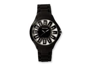 Ladies Simon Chang IP-Black Plated Black Silicone Band Watch