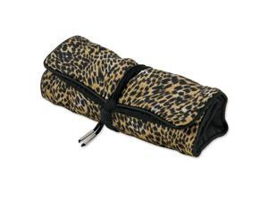 Pack of 5, Gold Cheetah with Black Trim Jewelry Roll