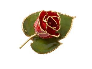 24k Gold Trim Red Rose Brooch
