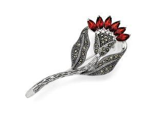 Sterling Silver Marcasite and Red Cubic Zirconia Flower Pin