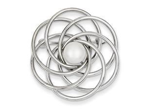 14k White Gold hite Gold Cultured Pearl Swirl Pin