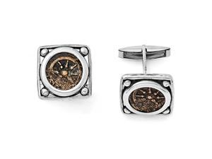 Sterling Silver & Bronze Antiqued Widows Mite Coin Cuff Links