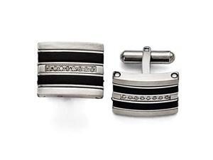 Stainless Steel Polished Black Rubber 0.15ct. tw. Diamond Cuff Links