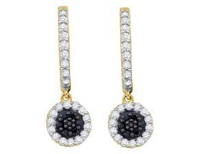 0.49ctw Black & White Diamond Dangle Earrings