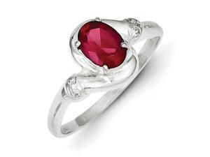 Sterling Silver Red Oval Cubic Zirconia Ring