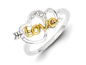 Sterling Silver & Vermeil Cubic Zirconia Love & Hearts Ring