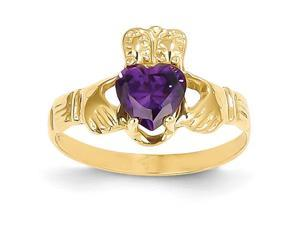 14K Yellow Gold  February Birthstone Claddagh Ring