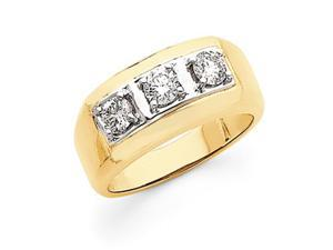 14k Two Tone Flat-Topped 3-Stone Men's Diamond Ring Mounting, Stones Not Included