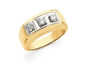 14k Two Tone 3-Stone Men's Diamond Ring Mounting, Stones Not Included