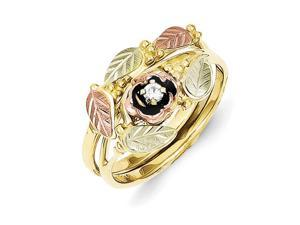 10k Yellow Gold Tri-color Black Hills Gold .05ct Diamond Antiqued Bridal Set Rings