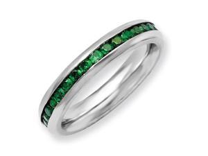Stainless Steel 4mm May Green Cubic Zirconia Ring