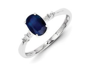 Sterling Silver Rhodium Plated Diamond & Sapphire Oval Ring