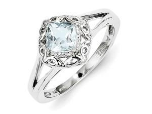 Sterling Silver Aquamarine Square Ring