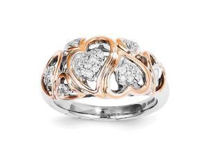 Sterling Silver & 14k Rose Gold Heart Diamond Ring