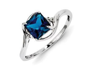 Sterling Silver Rhodium Plated Diamond & London Blue Topaz Ring