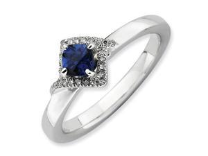 Sterling Silver Stackable Expressions Polished Cr. Sapphire & Diamond Ring