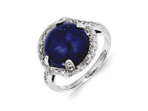 Sterling Silver Lapis and Diamond Ring