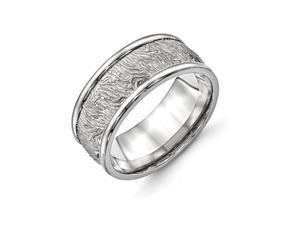 Titanium Polished 9.10mm Textured Rounded Edge Ring