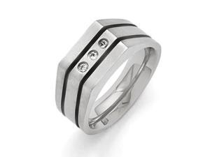 Titanium Brushed and Polished Black IP-plated Cubic Zirconias Ring