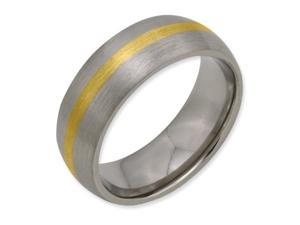 Titanium 14k Gold Inlay 8mm Brushed Band