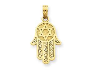 14K Yellow Gold  Jewish Hand of God with Star of David Pendant