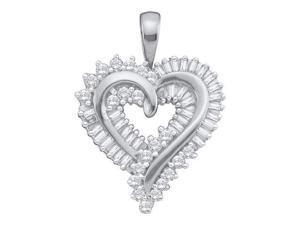 1.00ctw Brilliant Round & Baguette Cut Diamond Heart Pendant