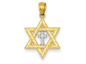 14K Yellow Gold  Gold Diamond with Rhodium Star of David with Cross Charm