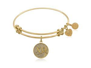 Expandable Bangle in Yellow Tone Brass with Chi Omega Symbol