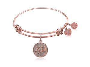 Expandable Bangle in Pink Tone Brass with Chi Omega Symbol