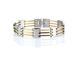 Mens Stainless Steel and Gold Plated Link Bracelet 8.50 inches