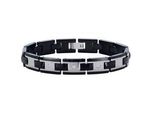 Tungsten 1/10 ct. Diamond Men's Bracelet - 8.5""