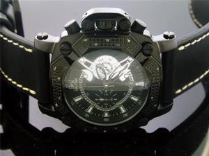 Techno Master 0.25CT Diamond Square Black Case Watch