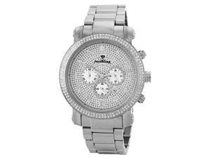 NEW MENS JUST BLING SILVER FACE 1.80CT DIAMONDS WATCH