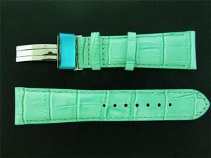 New Aqua Master double pin leather Blue band 24mm GREEN