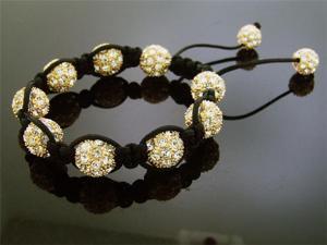 Big Yellow Gold Bead CZ Bracelet 12MM With Disco Ball