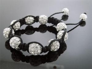 Big White Bead CZ  Bracelet 12MM With Disco BallM