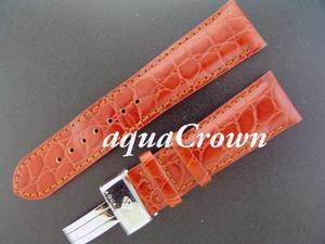 New Aqua Master double pin leather Orange band 24mm