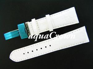 New Aqua Master double pin leather White band 24mm