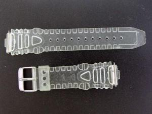 Aqua Master Plastic Sport Watch Band 17mm Wide Clear Plastic