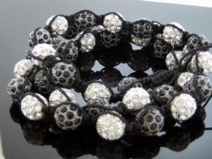 "Unisex Black & White Color Big Bead CZ Shamballa Necklace 12MM 34"" Long"