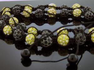 "Unisex Black & Yellow Gold Color Big Bead CZ Shamballa Necklace 12MM 34"" Long"