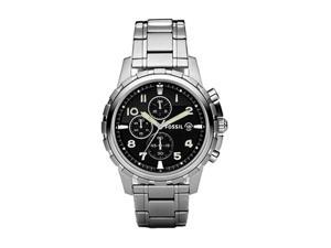 Fossil Dean Steel Bracelet Black Analog Dial Chronograph Mens Watch FS4542