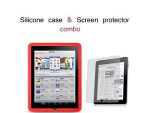Apple iPad Silicone Skin Case w/ Screen Protector Combo (Red)