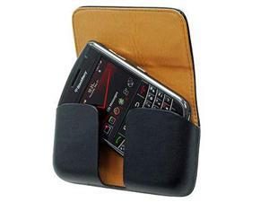 BlackBerry Tour 9630 Horizontal Excel Leather Pouch Case w/ Removable Spring Belt Clip (Black)