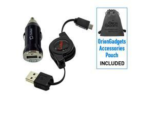 Samsung Focus S Retractable Sync & Charge USB Kit (Retractable USB Cable & Bullet Car Adapter)