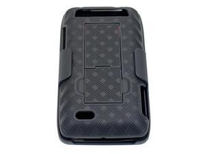 Motorola Droid 4 XT894 Shell Case / Holster Combo w/ Kickstand (Checkers Design) (Black)