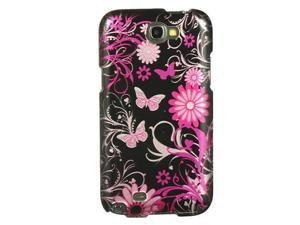Samsung Galaxy Note 2 Plastic Protector Case (Butterfly Design) (Pink)
