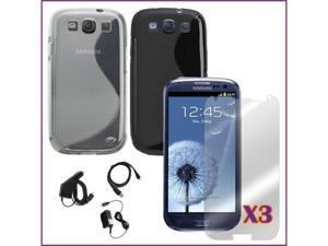 Fosmon Flexible TPU Gel Cases + Car Charger + Wall Charger + USB Data Charge Sync Cable Combo for Samsung Galaxy S3 i9300 S III